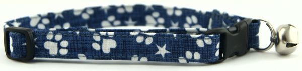 Denim Paws & Stars Cat Collar