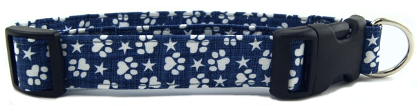 Denim Paws & Stars Dog Collar