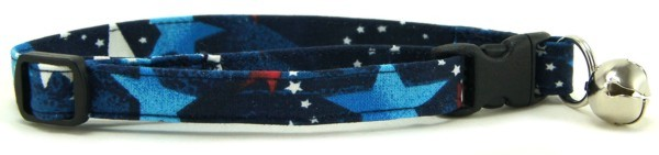 Red White & Blue Shooting Stars Cat Collar