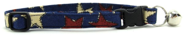 Red, White and Blue Stars Cat Collar